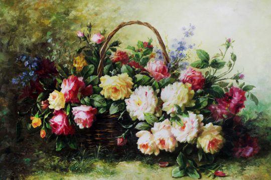 """Натюрморт маслом """"Букет с розами в корзине"""""""