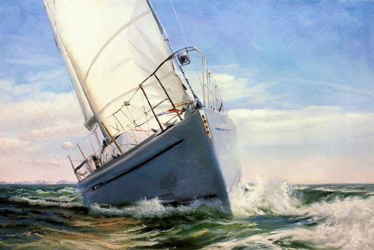 Морской пейзаж с парусником «Под белым парусом»