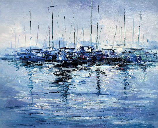 Лодки синим вечером