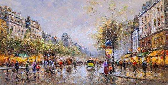 "Пейзаж Парижа Антуана Бланшара ""Theatre Des Varietes Large"" (копия Кристины Виверс)"