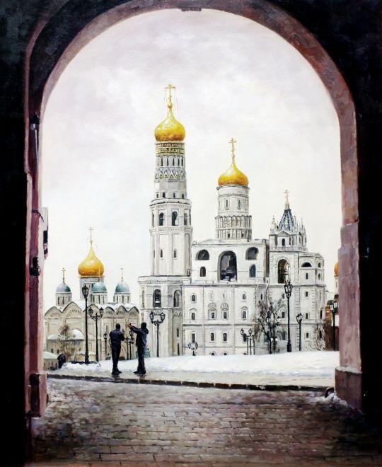 """Пейзаж маслом """"Прогулки по Москве. Внутри стен Кремля"""""""