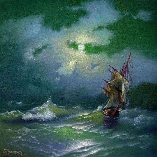 Корабль в лунную ночь.