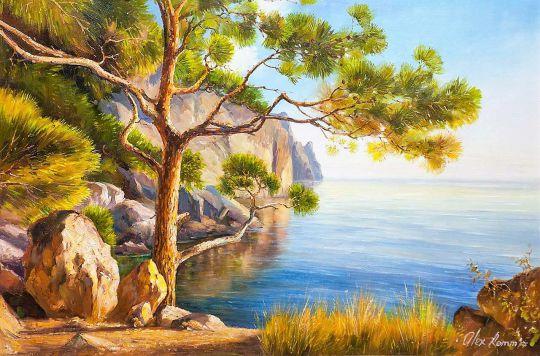 Летний пейзаж маслом Сосна на морском берегу
