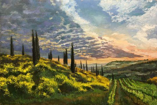 Италия,Тоскана,закат, кипарисы