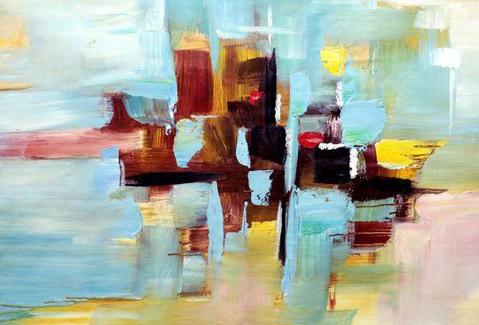 Абстракция маслом Отражения в заливе Нью-Йорка N2