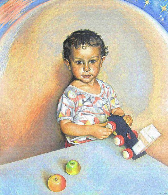 Малыш и яблоки