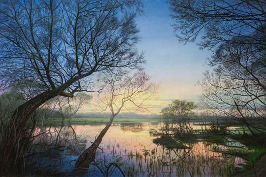Пейзаж маслом Синий вечер