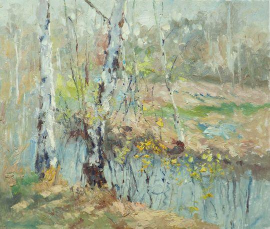 Картина маслом, пейзаж Осенние березы N2