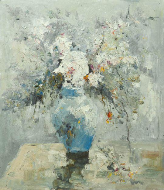 Картина маслом, натюрморт Белый букет N2