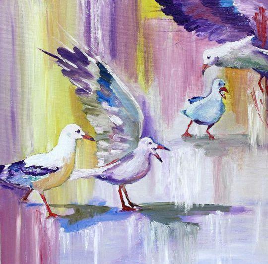 Картина маслом Чайки разговор на берегу розовый, фиолетовый, абстракция