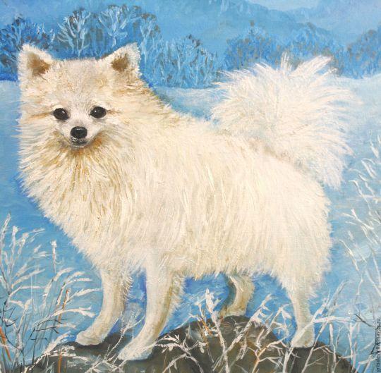 Ккартина маслом портрет собаки шпиц белый по фото