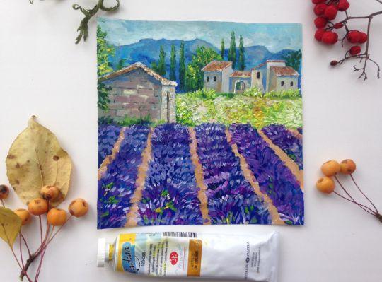 Картина маслом Лаванда Прованса .Поля, цветение, Франция, пейзаж
