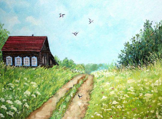 Картина маслом по фото Дорога к дому родина россия
