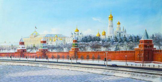 Картина маслом Зимний вид на Кремль