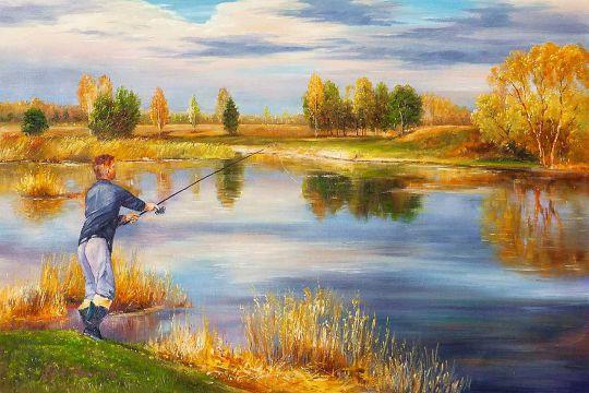 Картина маслом Осенняя рыбалка N2