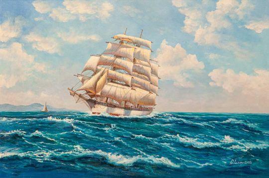 Вольная копия картины Доусона Монтего (Montague Dawson) «American Windjammer Under Full Sail»
