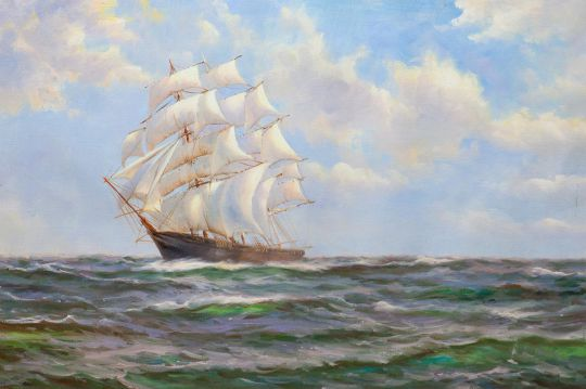 Вольная копия картины Доусона Монтего (Montague Dawson). The gallant Sir Lancelot in light winds