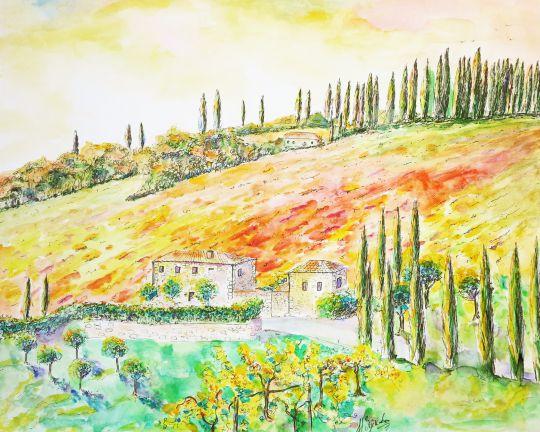 Картина акварелью Холмы Тосканы