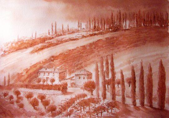 Картина вином Холмы Тосканы