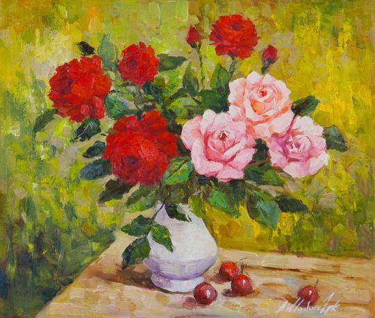 Розы и вишня