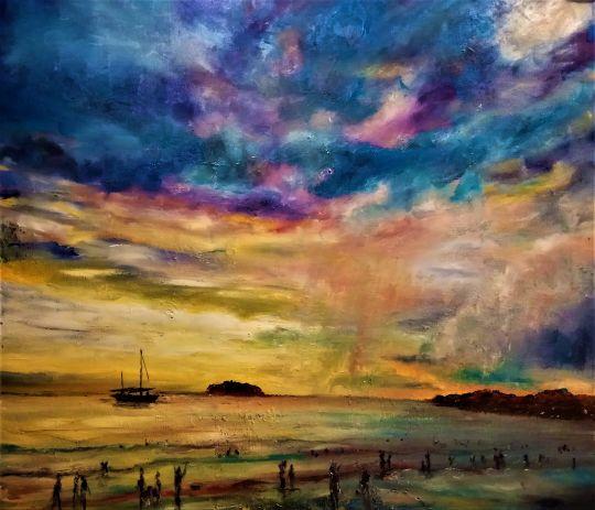 Закат на пляже Тайланда