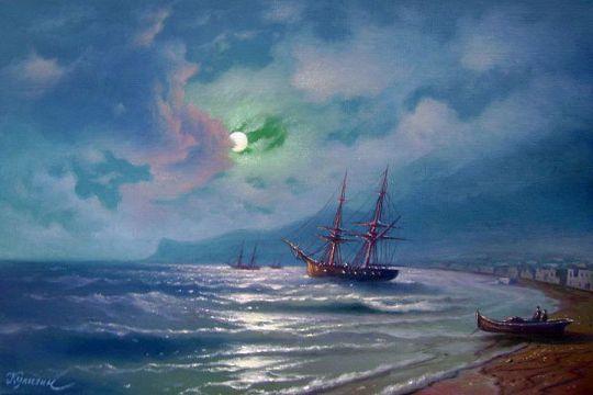 Морской берег при луне.