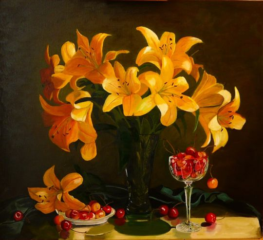 Жёлтые лилии и черешня