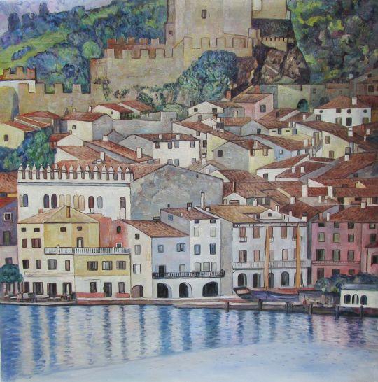 Копия картины Г. Климта Замок Мальчинезе на озере Гарда