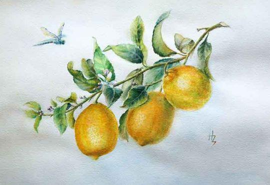 Картина акварелью Лимоны