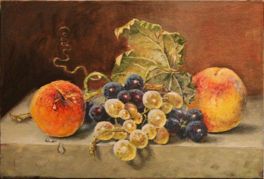 """Копия картины Эмили Прейер """"Натюрморт с персиками и виноградом"""""""