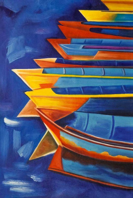 Копия картины Ивайло Николова. Рыбацкие лодки