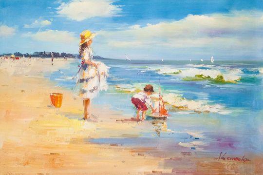 Дети на морском берегу. Запуская кораблик