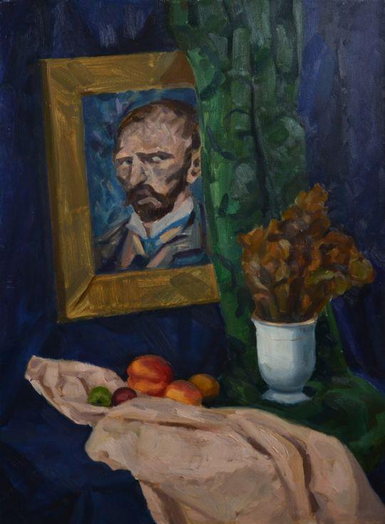 Натюрморт с персиками и Ван Гогом