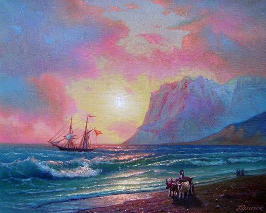 Закат в Коктебельской бухте.