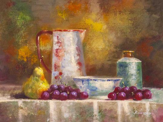 Натюрморт с кувшином, грушей и виноградом