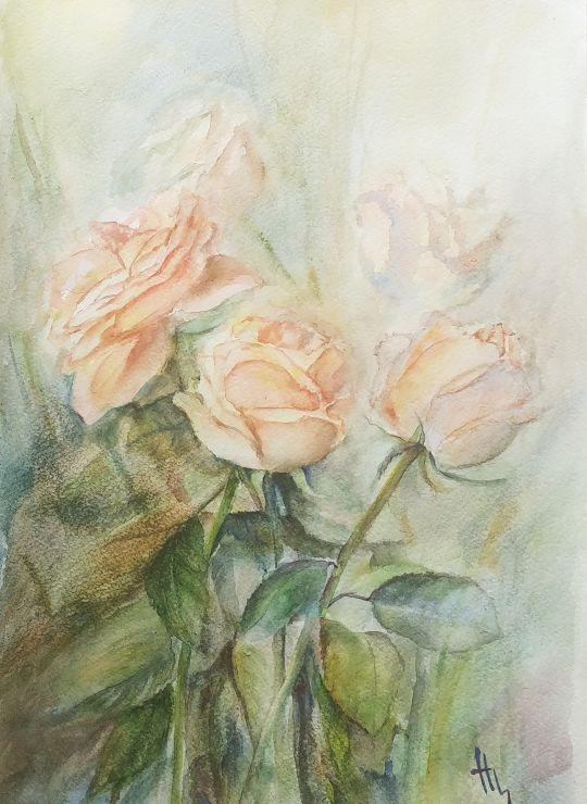 Букет роз в пастельных тонах