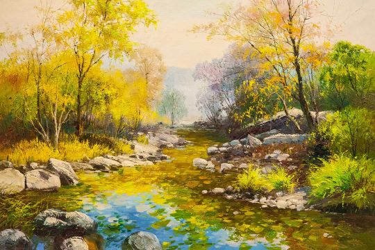 В осеннем лесу у ручья