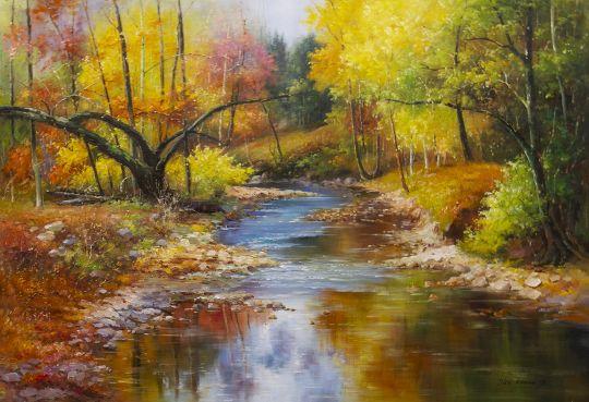 Ручей в лесу. Пейзаж в осенних тонах