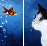 Кот и рыбка.худ.Т.Бруно