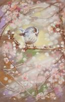 Маленькая птичка нежно пела сакуре