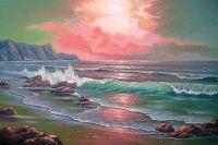 Морской берег. Закат.