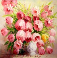 Нежные тюльпаны.худ.А.Джанильятти