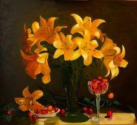 Желтые лилии и черешня