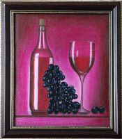 Натюрморт  с виноградом и вином.