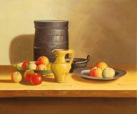 Натюрморт с яблоками и желтым кувшином