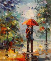 Влюбленные под дождем (картина Х.Родригеса)