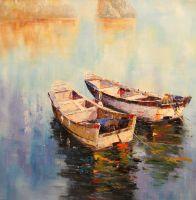Белые лодки в заливе (картина Х.Родригеса)