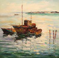 Рыбачьи лодки в заливе (картина Х.Родригеса)