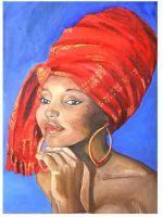 Молодая женщина в алой шали