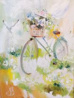 Flower wind. Bicycles